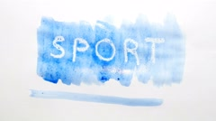 Sport text inscription watercolor artist paints blot isolated on white Stock Footage