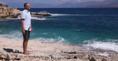 Relaxed Man Walk Coastline Tropical Water Tourist Visit Summer Holiday Seaside Stock Footage