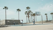 Basketball Game at Venice Beach, Slow Motion Stock Footage