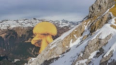Nuclear Bomb On Snowy Mountain Stock Footage