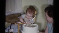 1959: a birthday cake is seen CATSKILL GAME FARM, NEW YORK Stock Footage