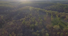 Aerial footage over forest in the Ozark Hills Stock Footage