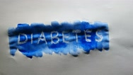 Diabetes text inscription watercolor artist paints blot isolated on white Stock Footage
