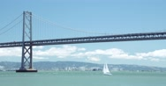 Yacht & Bay Bridge, San Francisco California Stock Footage