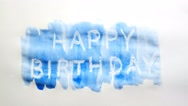 Happy birthday text inscription watercolor artist paints blot isolated on white Stock Footage
