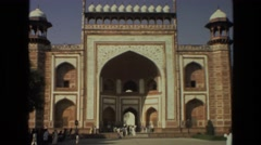 1974: footage of a historic monument and building while on a getaway INDIA Stock Footage