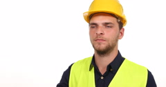 Successful Consultant Worker Man Looking Camera and Show Thumb Up Hand Gesture Stock Footage
