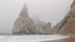 Mist beach landscape - Ursa Beach, Portugal Stock Footage