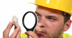 Master Engineer Male Gemologist Specialist Magnifying Glass Quartz Form Inspect Stock Footage