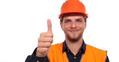 Happy Successful Worker Man Looking Camera and Show Thumb Up Hand Gesture Sign Stock Footage