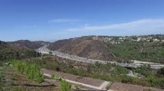 Beautiful views of the 405 freeway Los Angeles California Stock Footage