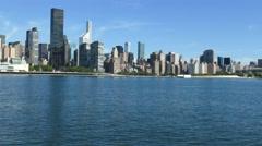 Trump World Tower on East River, Manhattan Skyline, New York City Waterfront Stock Footage
