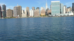 East River view at United Nations and Chrysler Building, Manhattan Waterfront Stock Footage