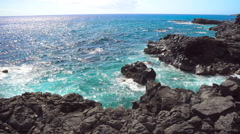 Rocky beach near Kaena Point on Oahu Stock Footage
