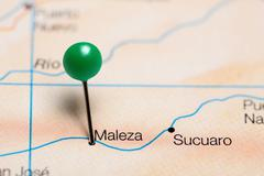 Maleza pinned on a map of Colombia Stock Photos
