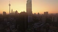 High view of Kuala Lumpur city at sunrise Stock Footage