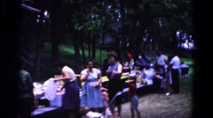 1963: large family at outdoor picnic COLD SPRINGS, NEW YORK Stock Footage