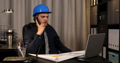 Successful Worker Man Examining Draft Map Collaboration Talking Phone Assistance Stock Footage