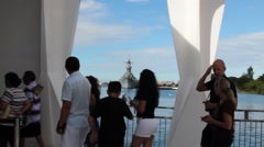 Tourists Walking on the USS Arizona Memorial at Pearl Harbor Stock Footage