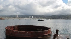 View of Pearl Harbor from Remains of USS Arizona Stock Footage