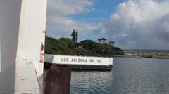USS Arizona Memorial Marker at Pearl Harbor Stock Footage
