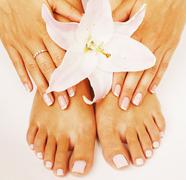 Manicure pedicure with flower lily close up isolated on white perfect shape Stock Photos