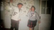 Amateur cheerleaders practice moves for friends 3661 vintage film home movie Stock Footage