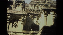 1974: magnificent old temple with many towers made of large stones INDIA Stock Footage