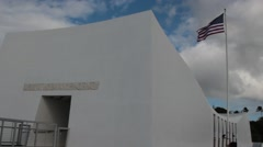 US Flag Waving over the USS Arizona Memorial, Pearl Harbor Stock Footage