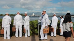 Navy Personnel in Service Dress Whites Reading the Memorial Maps at Pearl Harbor Stock Footage