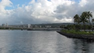 Passing Shot from Pearl Harbor of Honolulu in Background Stock Footage