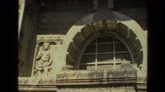 1974: stone relief carved building fancy entrance INDIA Stock Footage