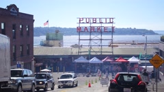 Pike Place Public Market Sign, Downtown Seattle Washington - Wide Shot Stock Footage