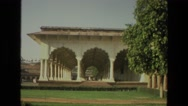 1974: large historical museum located in vast lawn with many visitors INDIA Stock Footage