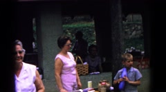 1963: a pit stop is seen with cars stopped to rest or for fuel COLD SPRINGS Stock Footage