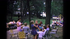 1963: a picnic in a forest area is seen COLD SPRINGS, NEW YORK Stock Footage