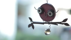 Owl Wind Chime_Close Stock Footage