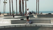 Skater at Venice Beach Skate Park, Super Slow Motion Stock Footage