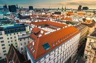 Aerial view over the rooftops of Vienna Stock Photos