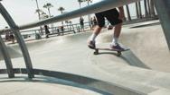 Skateboarding Past Camera into Half Pipe - Venice Beach Skate Park, Slow Motion Stock Footage