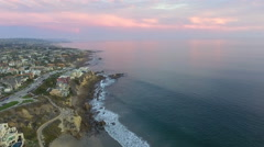 Rising Over Little Corona State Beach, Corona Del Mar, Southern California Stock Footage