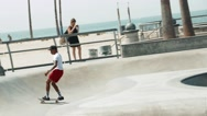 Skateboarding at Venice Beach Skate Park, Super Slow Motion Stock Footage