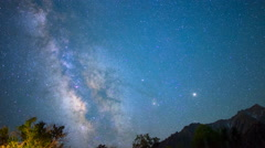 Astro Time Lapse of Milky Way Fading over Sierra Nevada Mtns -Pan Right- Stock Footage