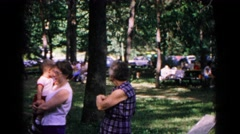1963: family summer reunion in public picnic park area COLD SPRINGS, NEW YORK Stock Footage