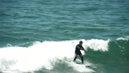 Surfer Surfing Wave in Slow Motion, Venice Beach California Coast 2 Stock Footage
