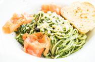 Spaghetti pesto Stock Photos