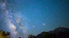 Astro Time Lapse of Milky Way Fading over Sierra Nevada Mtns -Pan Left- Stock Footage