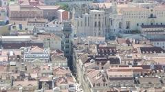 Lisbon, Portugal. Landscape on the city and Santa Justa elevator Stock Footage