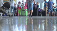 Warsaw Chopin airport terminal - crowd of travellers & suitcases - timelapse Stock Footage