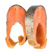 Slices Of Cold Smoked Pink Salmon Or Humpback Salmon Isolated On White Backgr Stock Photos